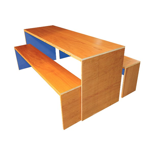 Contemporary Dining Table & Bench Set - Blue