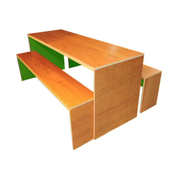 Contemporary Dining Table & Bench Set - Green