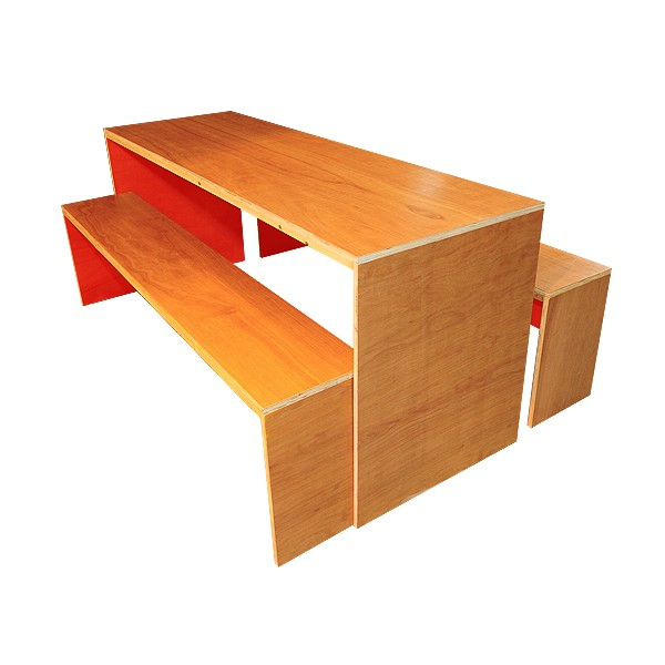 Contemporary Dining Table & Bench Set - Red