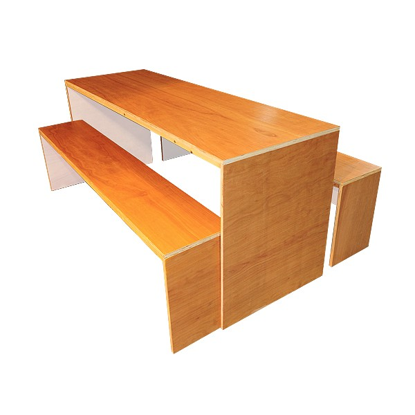 Contemporary Dining Table & Bench Set - White