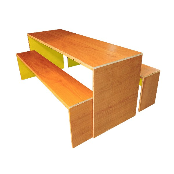 Contemporary Dining Table & Bench Set - Yellow