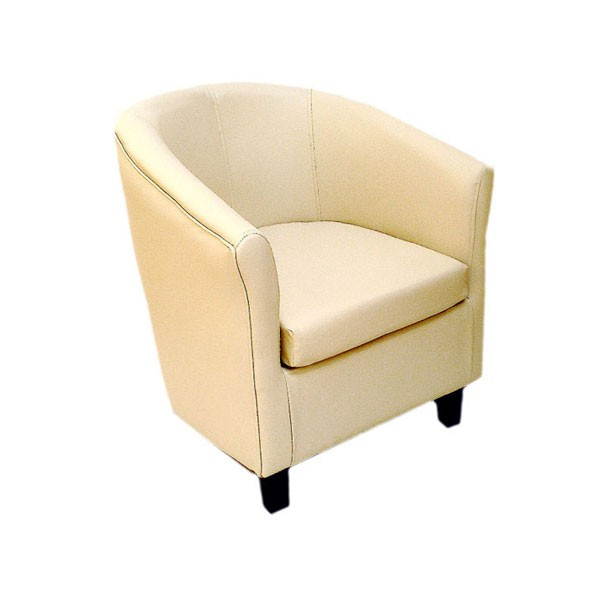 Cream Leather Club Chair