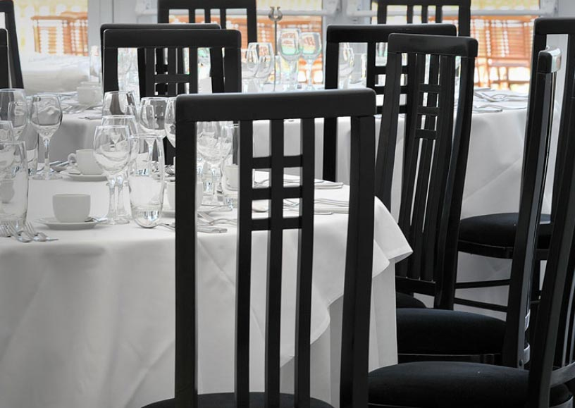 Black Calcutta dining chairs for hire