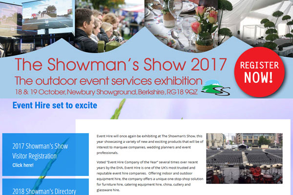 Event Hire UK 'set to excite' at The Showman's Show