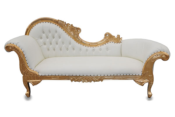Eventhire blog read new gold chaise longue sofa hire for Chaise longue hire