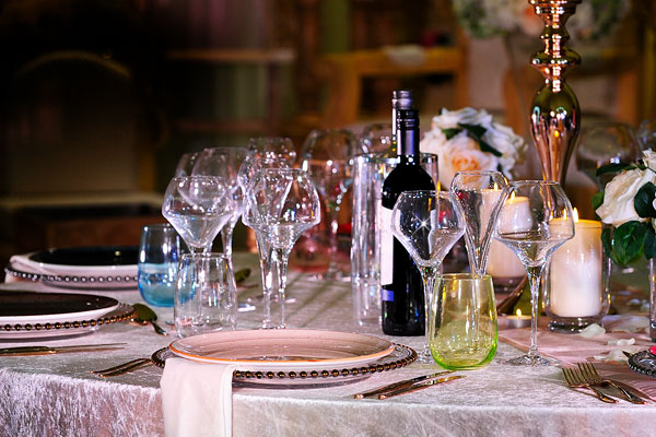 Luxury dining event crockery, cutlery & glassware hire