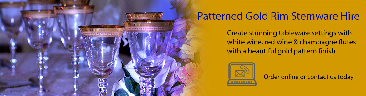 Hire Patterned Gold Rim Wine & Champagne Glasses