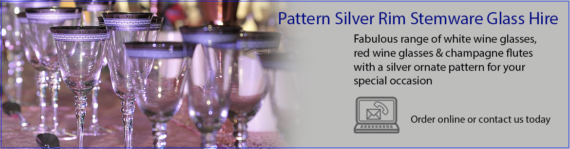 Hire Patterned Silver Rim Wine & Champagne Glasses