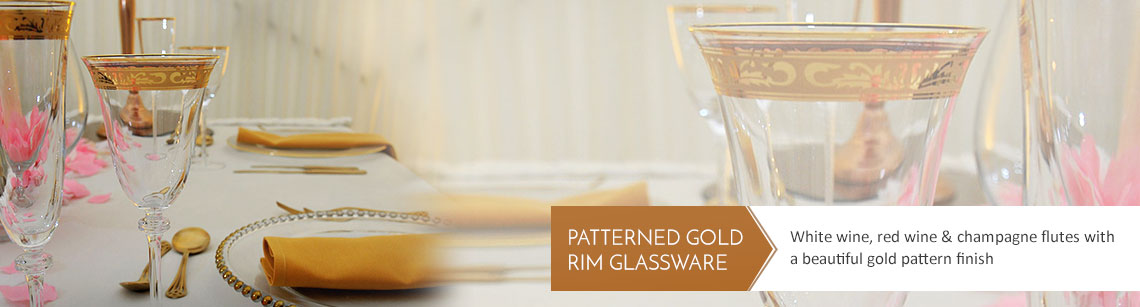 Patterned Gold Rim Wine Glass Hire
