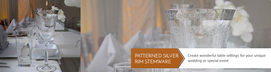 Patterned Silver Rim Wine Glass Hire