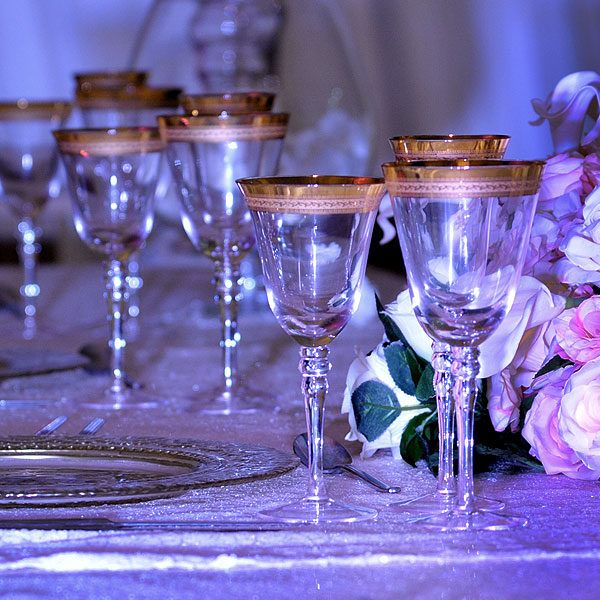 Patterned Gold Rim Stemware Glass Hire Manchester