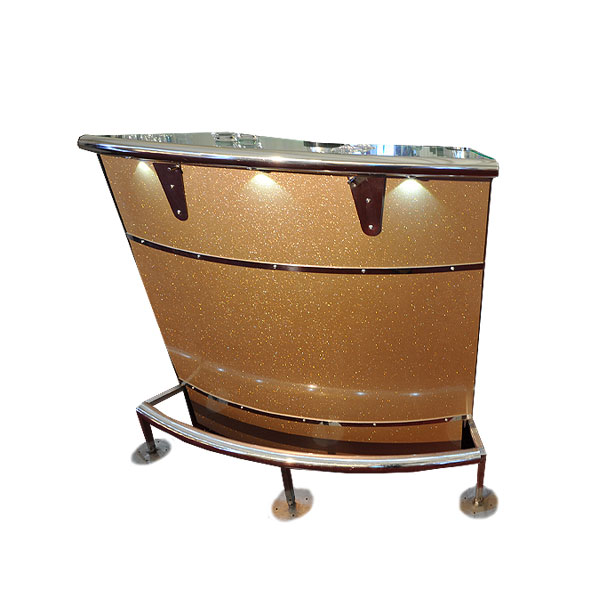 Curved Gold Cocktail Bar Unit