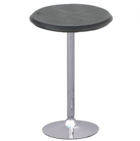 Oro Black Leather Round Poseur Table