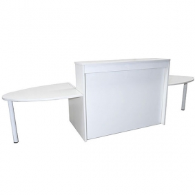 White Reception Desk With Curved Table Ends