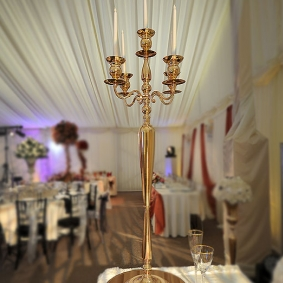 5 Stem Gold Candelabra