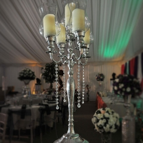 5 Stem Silver Candelabra With Shaped Glass Surrounds