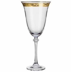 Patterned Gold Rim Red Wine Glass