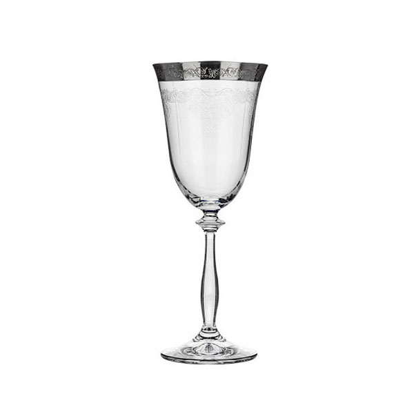 Patterned Silver Rim Red Wine Glass