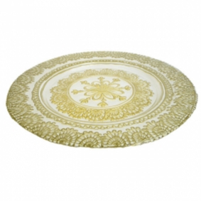 Gold Patterned Glass Charger Plate
