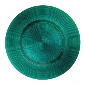 Emerald Green Glass Charger Plate