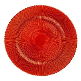 Patterned Red Glass Charger Plate