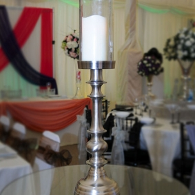 Single Stem Candelabra With Glass Surround