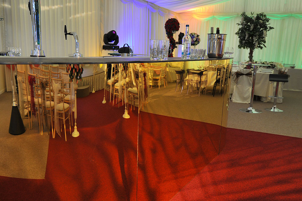 Gold Fronted Mirror Event Bar Hire