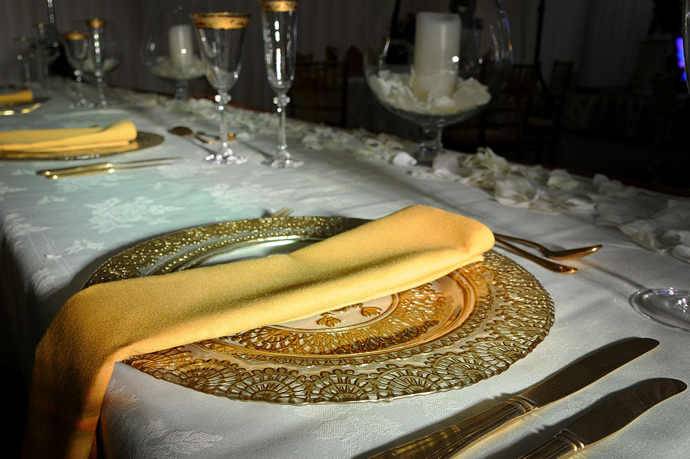Gold Glass Charger Plate Hire