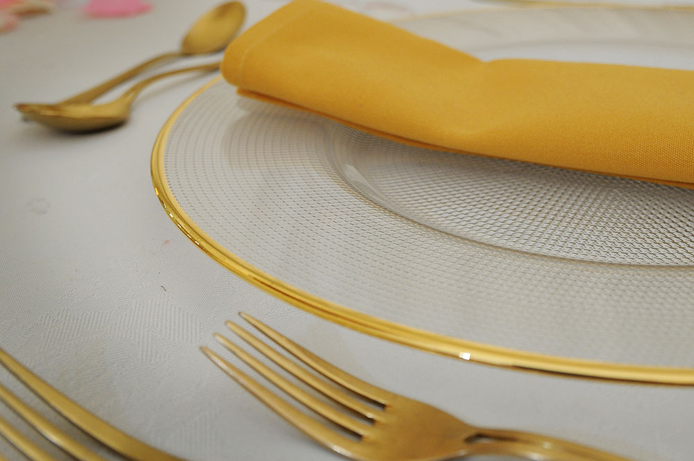 Gold Rim Glass Plates Hire