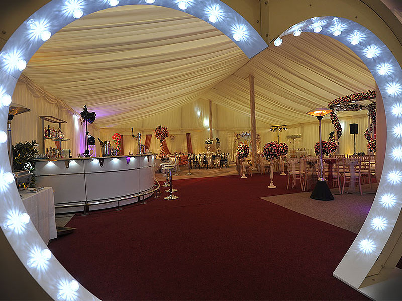 Lit Up Wedding Heart Arch Hire
