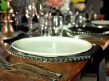 Glass Silver Beaded Plate Hire