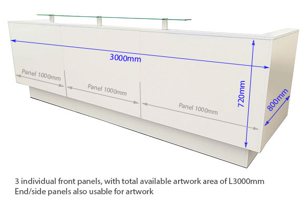 Vinyl Dimensions 3m Welcome Reception Desk With Front Perspex Shelf