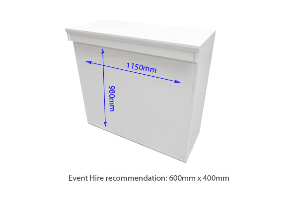 Modular White Linear Reception Desk Hire