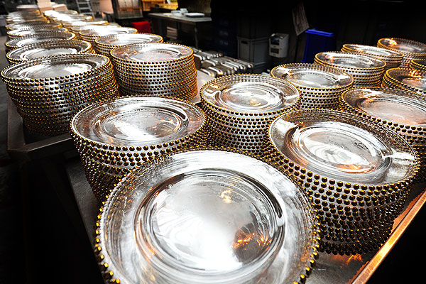 Rent gold beaded glass plates for special occasions