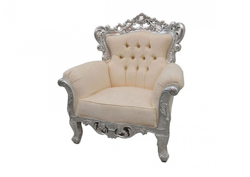 *NEW* Ornate silver wedding armchairs for hire