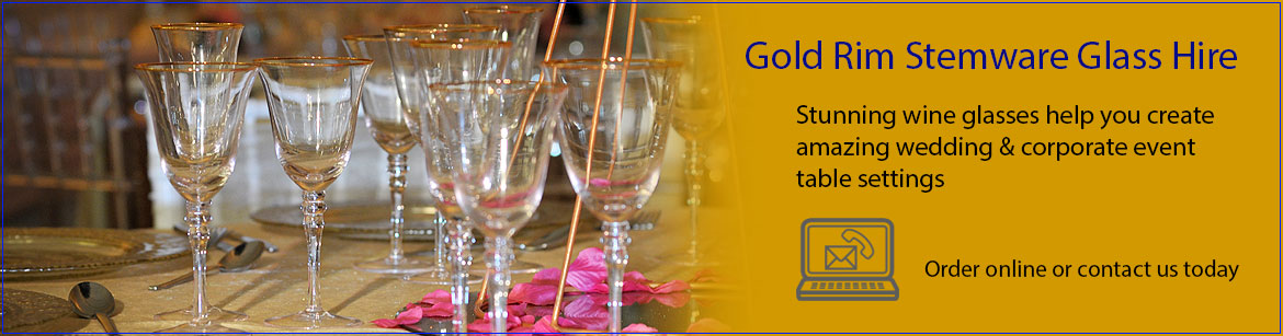 Hire Gold Rim Wine & Champagne Glasses