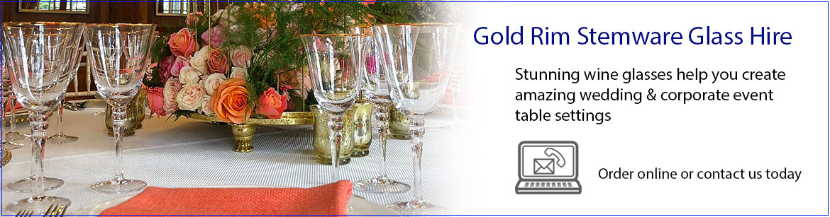 Hire gold Rimmed Wine Glasses