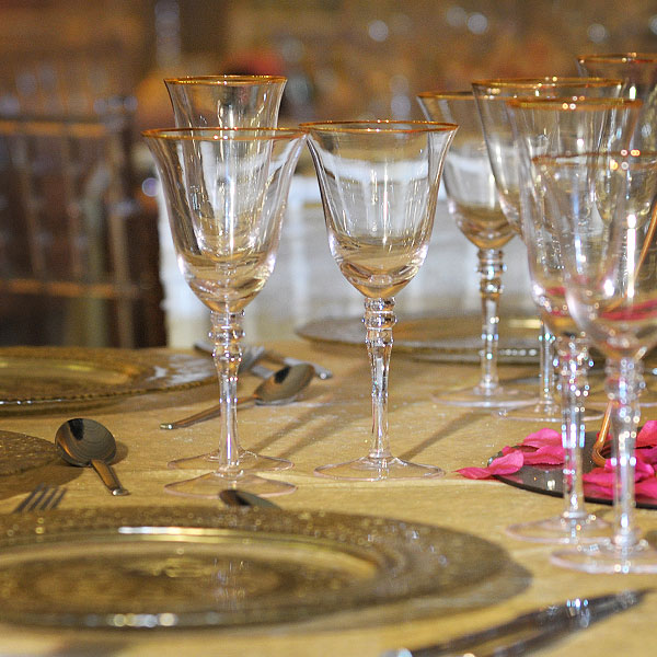 Gold Rim Stemware Glass Hire Manchester