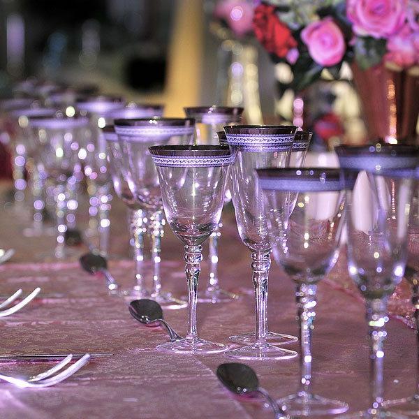 Patterned Silver Rim Stemware Glass Hire Birmingham