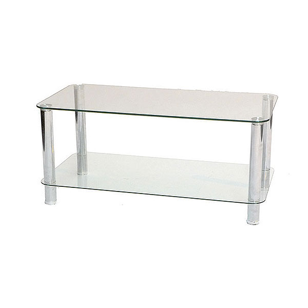 Two Tier Glass Chrome Coffee Table Event Hire Uk
