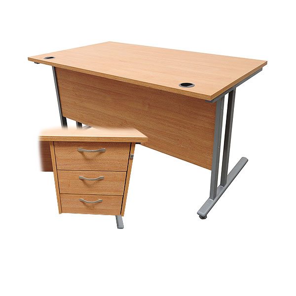Desk With Pedestal Drawers