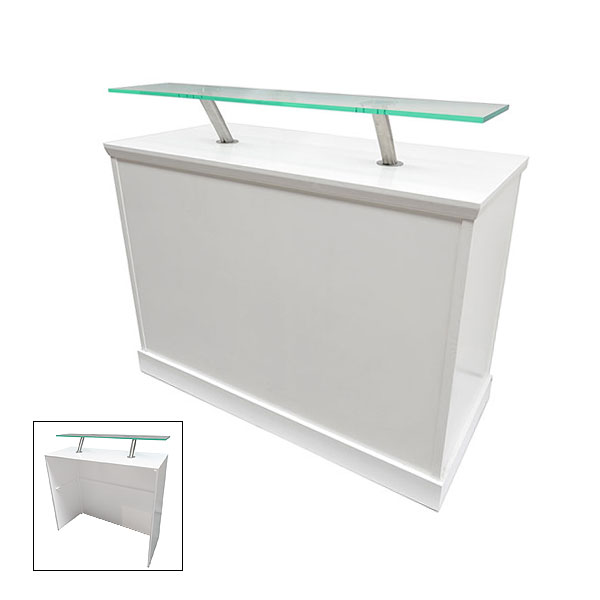 White Reception Desk With Perspex Shelf | Event Hire UK