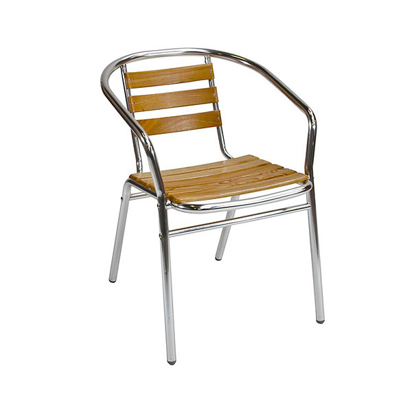 Teak & Aluminium Cafe Chair
