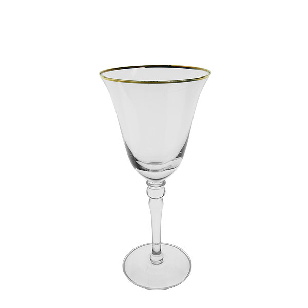 Gold Rim White Wine Glass