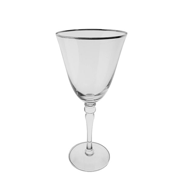 Silver Rim Red Wine Glass