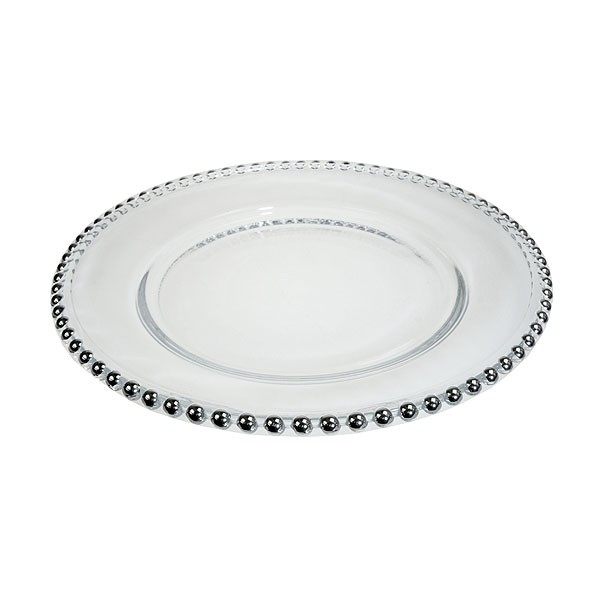 Silver Beaded Glass Plate