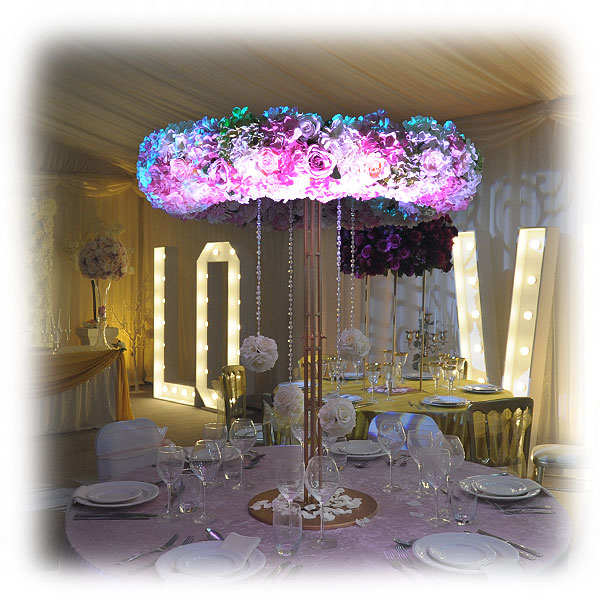 Wedding Altar Hire Uk: Cerise Pink & Purple Flower Arrangement With Art Deco