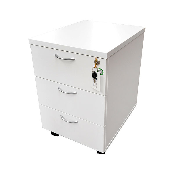 White 3 Drawer Pedestal