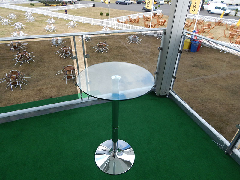 Ammon Clear Glass Poseur Table Hire