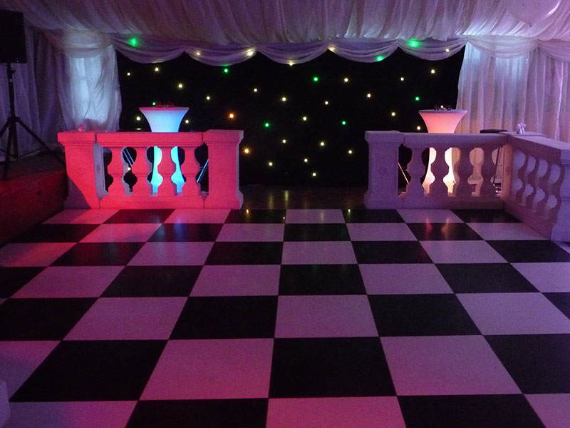 Chequered Black & White Wedding Dance Floor Hire